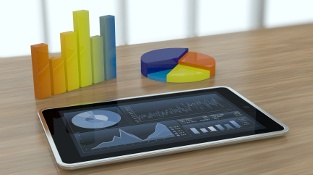 one tablet pc with stock market app and financial charts (3d render)